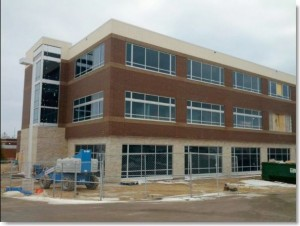 St Joseph's Hospital, Kraemer Cancer Center, West Bend, WI. CG Schmidt project, fluid applied air barrier, masonry and window caulking by Sids Sealants.