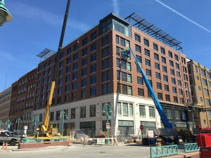 Kimpton Hotel. CD Smith project. Air barrier, masonry company, window caulking, and interior fire caulking